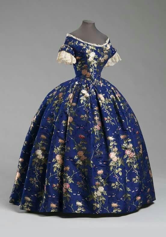 1850 Evening Dress Silk Brocade Cotton Linen Lace American Victorian Fashion Historical Dresses 19th Century Fashion