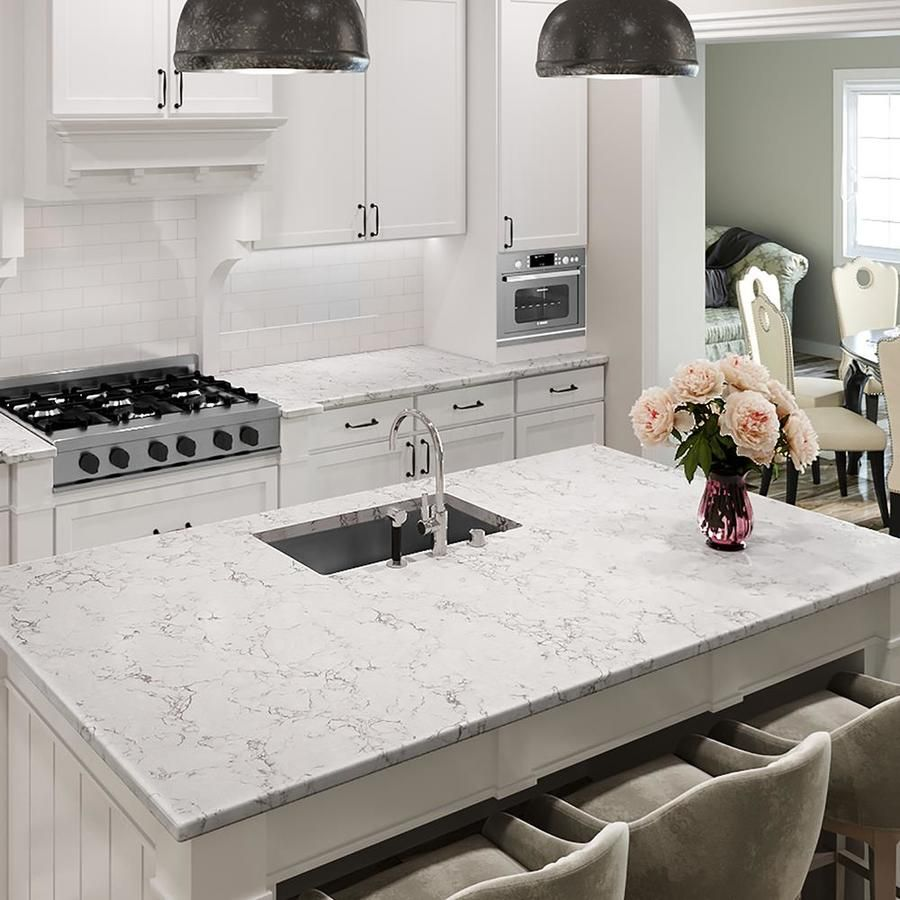 Allen Roth Effervesce Quartz Kitchen Countertop Sample At Lowes