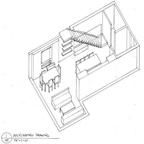 Plan Elevation Oblique : Loft axonometric drawing plan oblique projection
