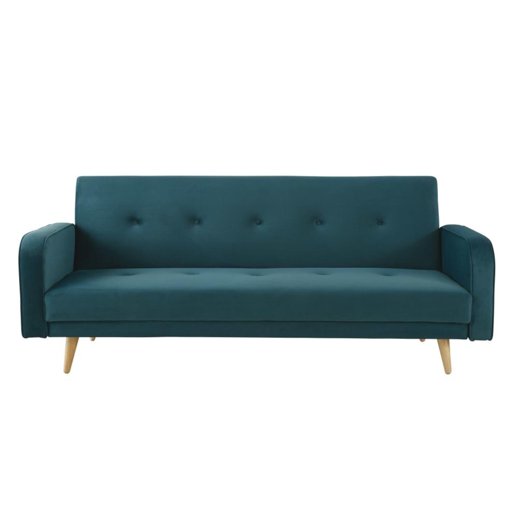 Petrol Blue 3 Seater Velvet Sofa Bed Broadway Maisons Du Monde Velvet Sofa Bed Livingroom Layout Sofa
