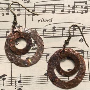 handmade, copper, jewelry, earrings