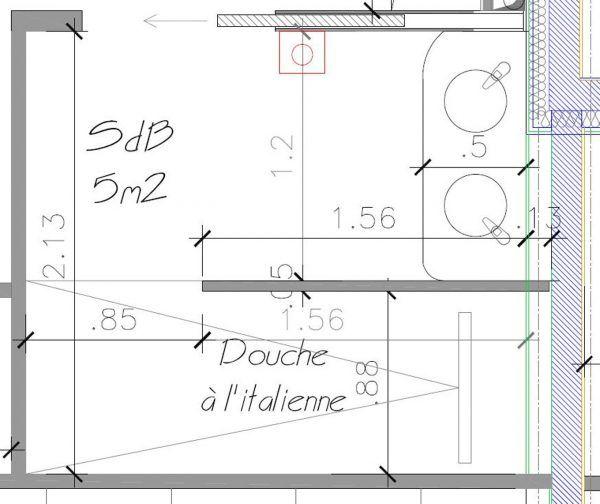 salle de bain plan salle de bain m avec douche italienne plan 07241509 cotes pinterest On plan douche italienne