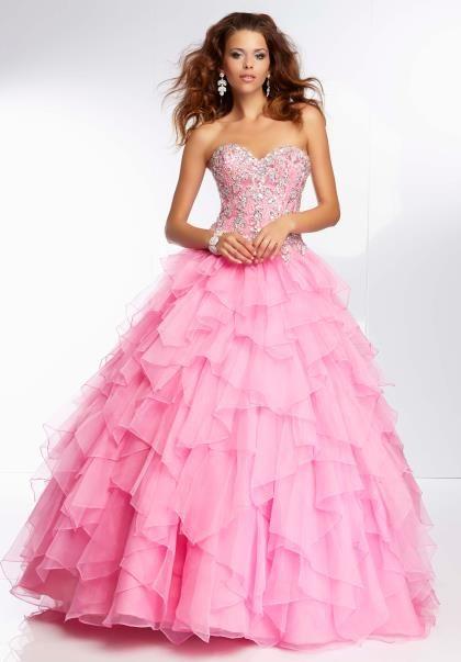 Mori Lee Lace Back Corset Prom Dress 95095