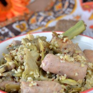 Ricetta Quinoa Con Carciofi.Bulgur E Quinoa Con Carciofi E Salsiccia Di Tacchino Cibo Etnico Ricette Idee Alimentari