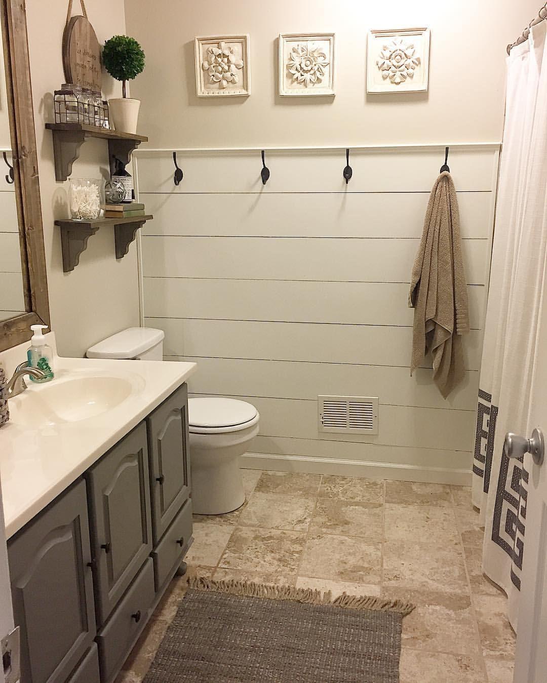 Shiplap Bathroom Vanity: Shiplap Half Wall Bathroom Makeover