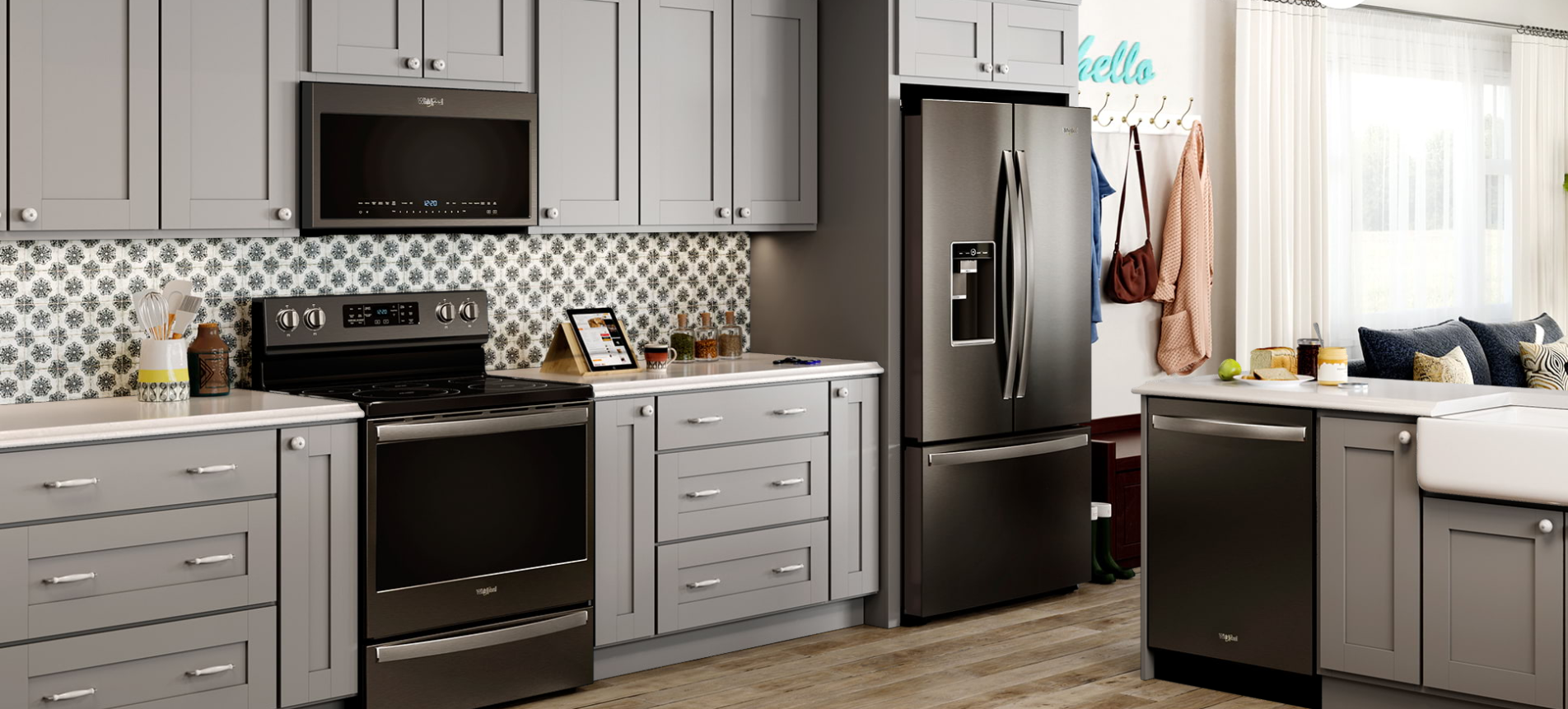 Whirlpool Appliances Black Stainless w/ Light Gray