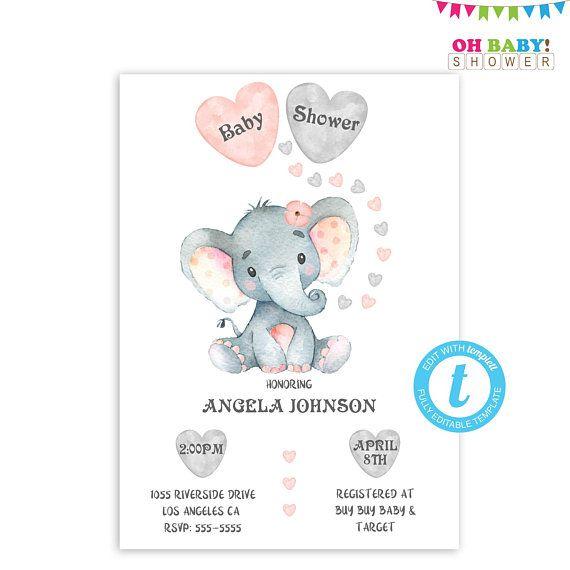 Elephant Baby Shower Invitation Girl Editable Invitation Baby