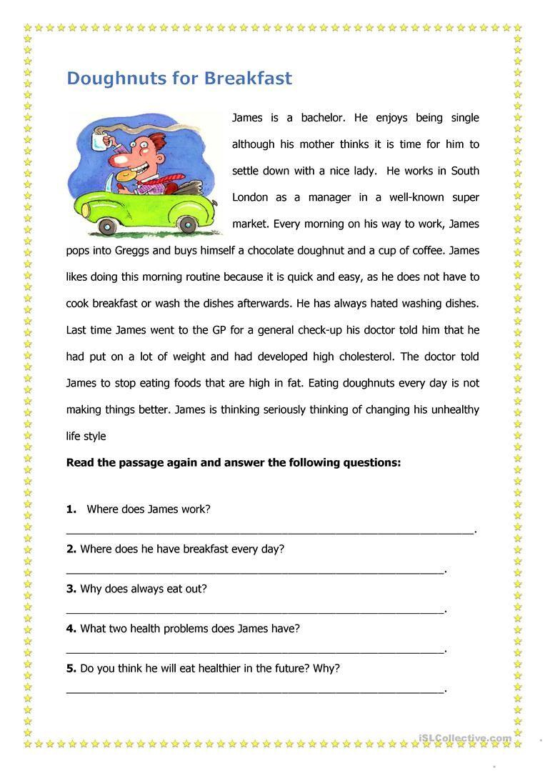 Doughnuts For Breakfast Teaching Reading Comprehension Reading Comprehension Worksheets Reading Worksheets [ 1079 x 763 Pixel ]