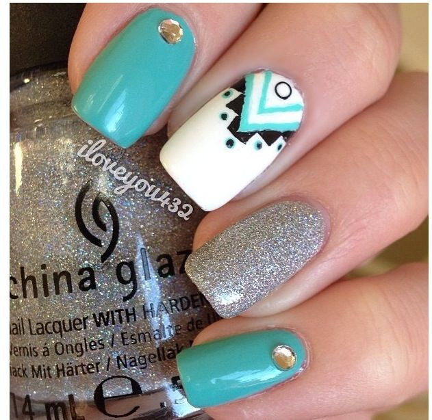 teal white and silver nails