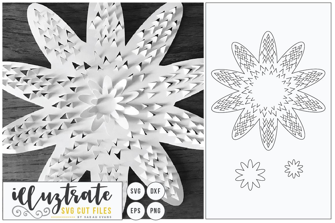 38+ Flower Svg Cut File – 3D Flower Svg – Layered Flower Dxf Crafter Files