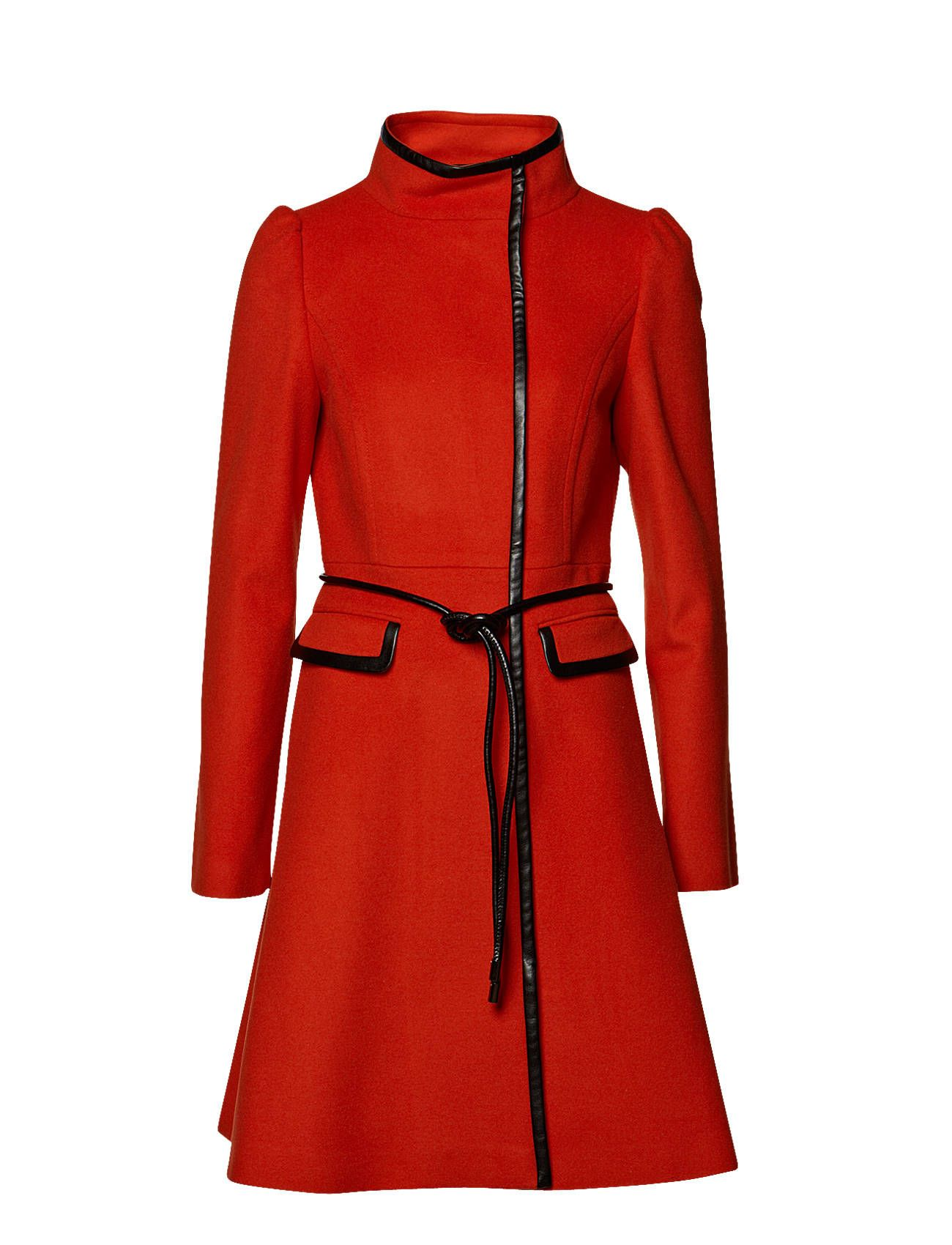 Nice red coat with black leather details will work well with a lot of my dresses.
