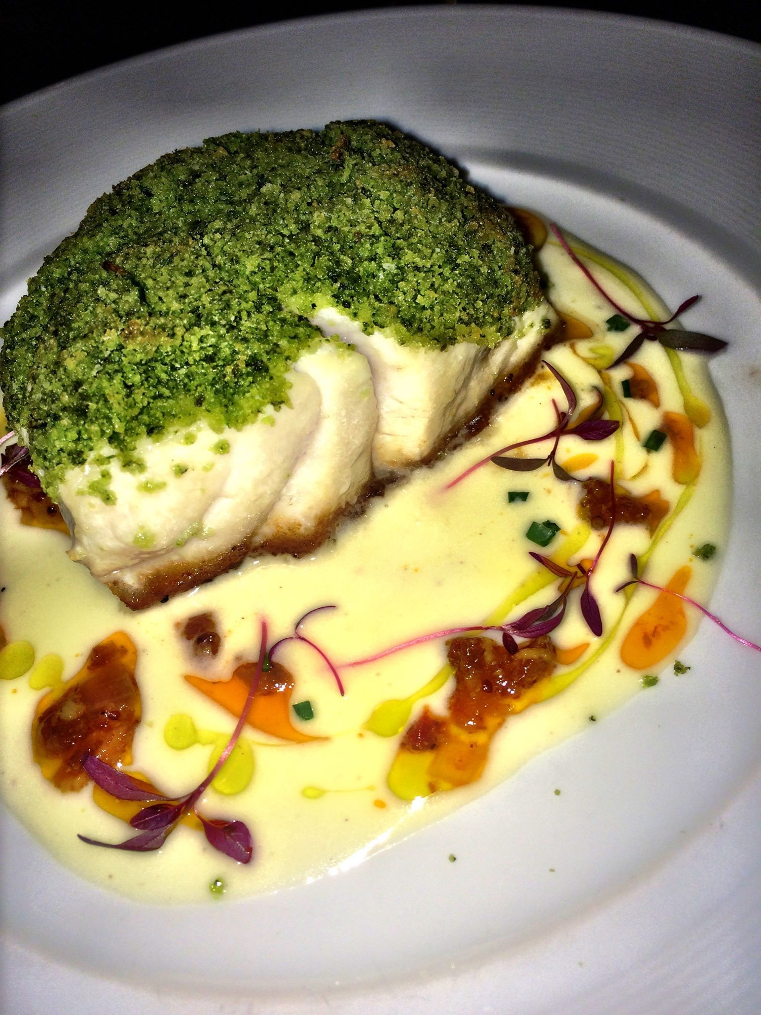 Herb Crusted Golden Tile served with Lemon Butter Sauce and Bacon Marmalade
