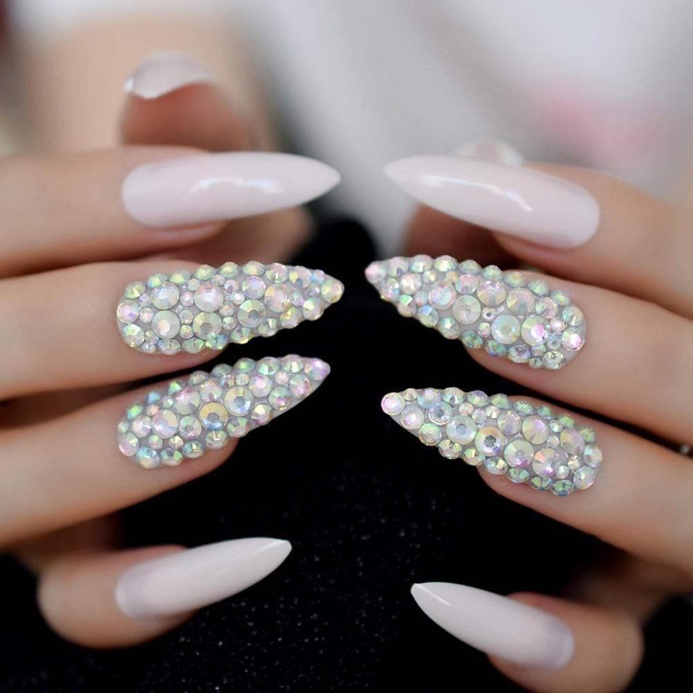 Extra long bling stiletto nails fake nail store bling