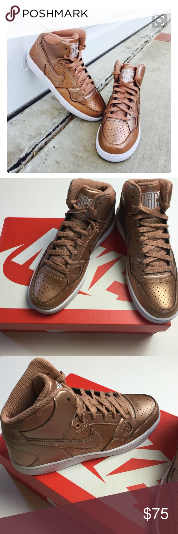 97f70c36e5fc NWT Nike bronze tall sneakers New in box women s son of force tall Nike  sneakers rare bronze color Nike Shoes Sneakers