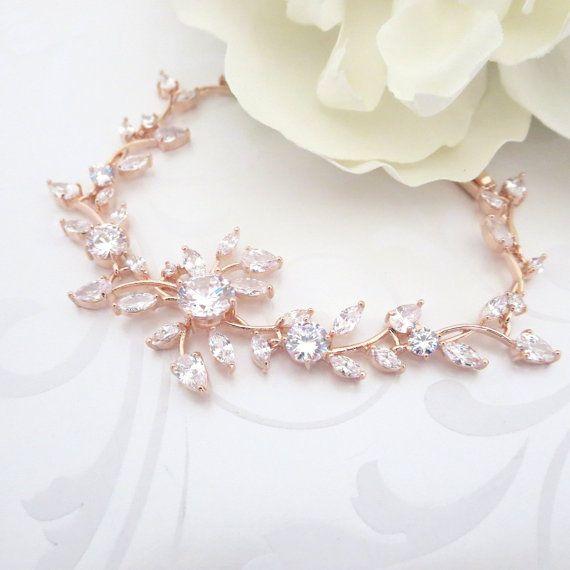 Braut Armband Rose Gold Kristall Hochzeit von TheExquisiteBride