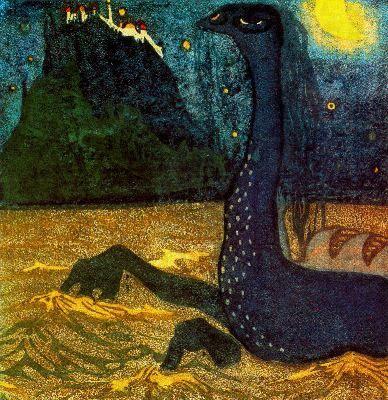 MOONLIGHT NIGHT, 1907 Colour lithograph Moscow, Russia. The State Tretyakov Gallery #kandinsky #kandinski #kandinskij http://www.wassilykandinsky.net/work-255.php
