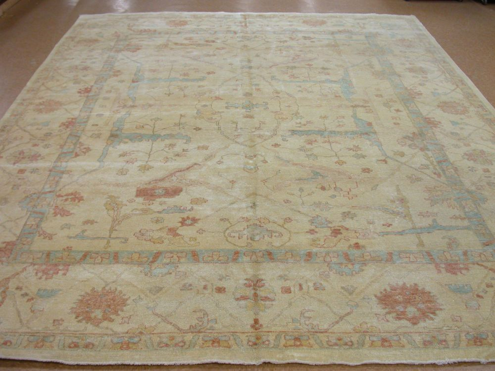 12 X 15 Oushak Style Hand Knotted Soft Wool Ivory Blue New Oriental Rug Carpet