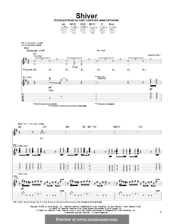 Shiver Maroon 5 For Guitar With Tab By Adam Levine Jesse Carmichael