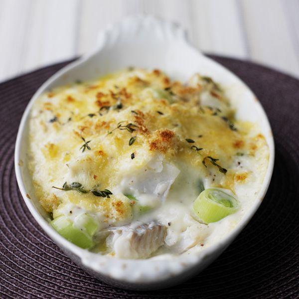 Gratin de poisson blanc aux poireaux recipe - Cuisiner poisson blanc ...
