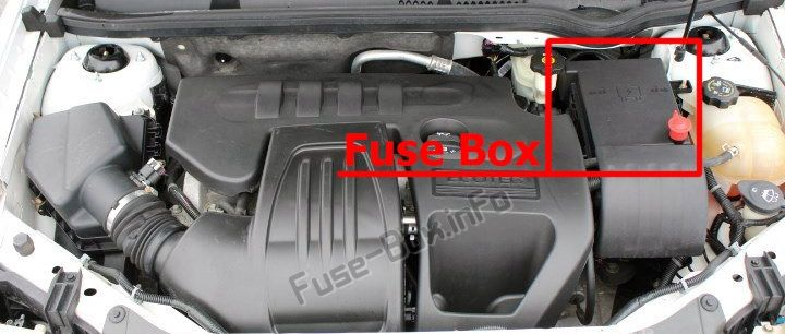 The Location Of The Fuses In The Engine Compartment Chevrolet Cobalt 2005 2010 In 2020 Chevrolet Cobalt Chevrolet Fuse Box