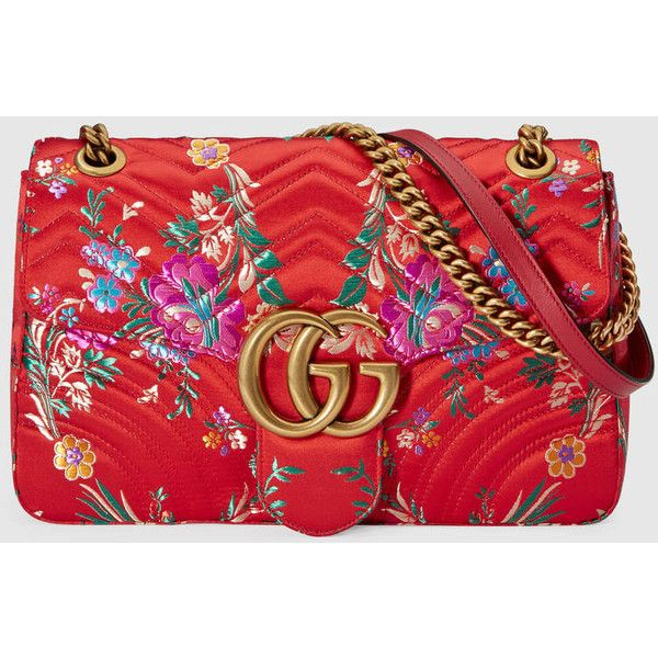 Gucci Gg Marmont Floral Jacquard Shoulder Bag (12.385 DKK) via Polyvore featuring bags, handbags, shoulder bags, borse, red, shoulder handbags, red handbags, red purse, top handle handbags and oversized handbags
