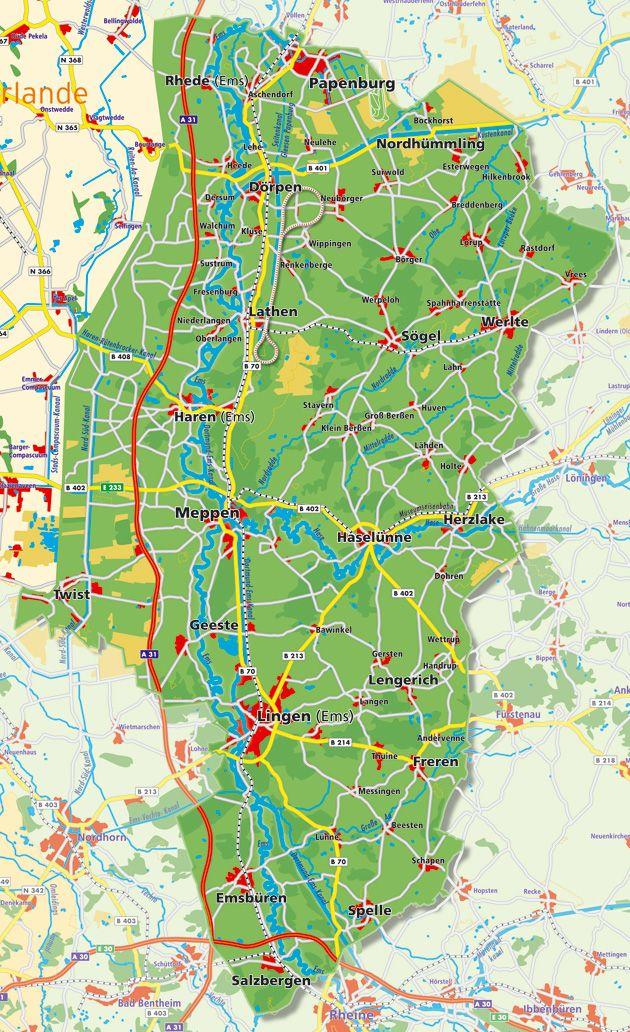 emsland karte .emsland.| mix | Emsland, Orte und Landkarte