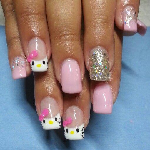 Hello Kitty Acrylic Nails With Gel Polish 30 Nails Gel Nails Acrylic Nails