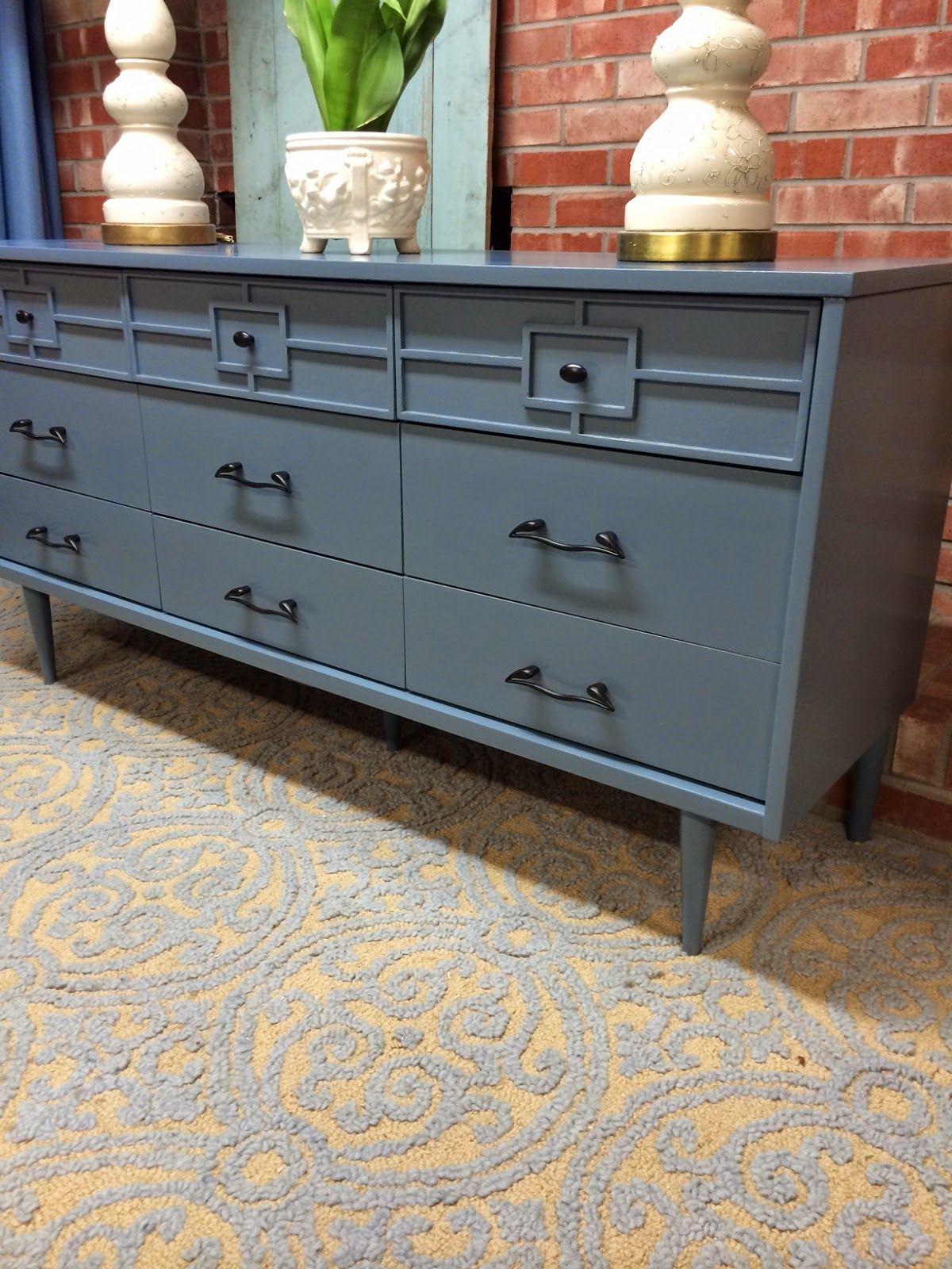 Dresser Painted Blue Dresser With Fretwork Overlay Dresser