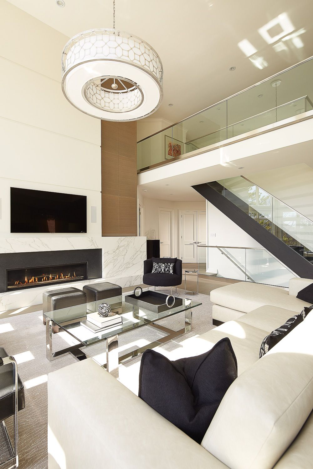A Transitional Style Great Room By Parkyn Design Www Parkyndesign Com: Glass Railing Stairs, Glass Stairs, Interior Design