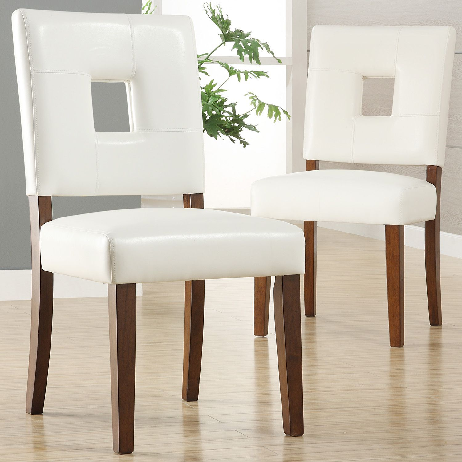Calvados Faux Leather White Dining Chairs (Set Of 2) By