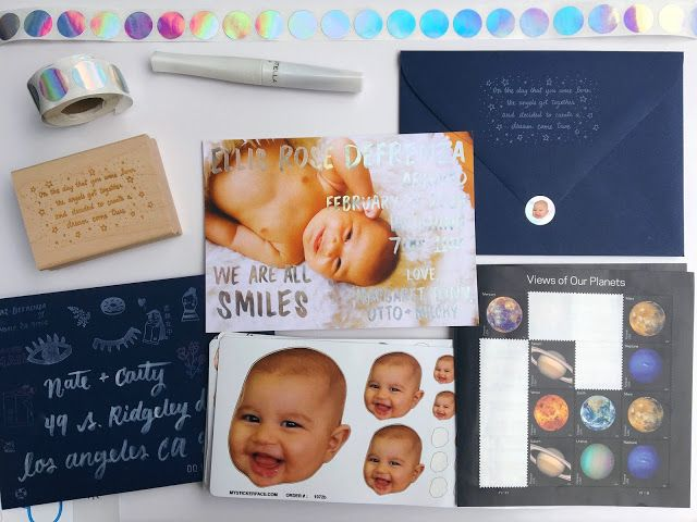 baby rainbow holographic foil birth announcements
