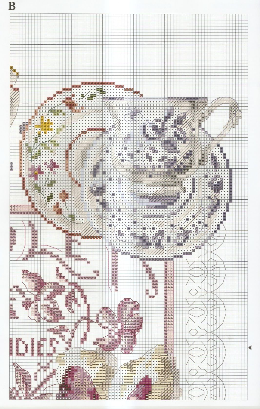 Dmc Bk769 Creation Point De Croix 55 Veronique Enginger Crockery And Violets Violet Candi Cross Stitch Kitchen Cross Stitch Love Cross Stitch Patterns
