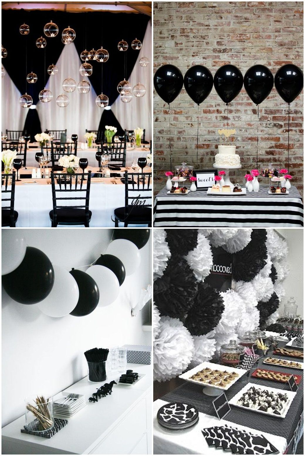 Simple black and white party ideas julia for Party decorations to make at home