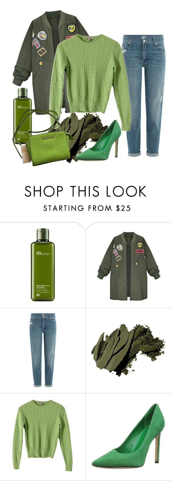 """""""Shades of Green"""" by crayonroad ❤ liked on Polyvore featuring Origins, WithChic, Mother, Bobbi Brown Cosmetics, Kinross, Nine West and MICHAEL Michael Kors"""