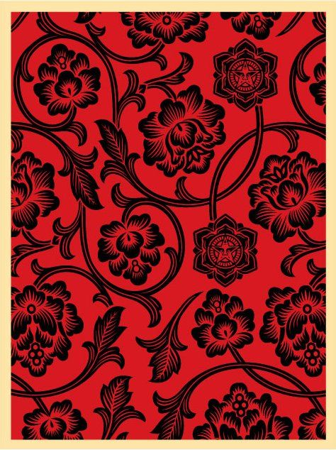 14a222a195d8 Flower Vine (Blk/Red | Crimson & Clover | Flowering vines, Prints, Vines