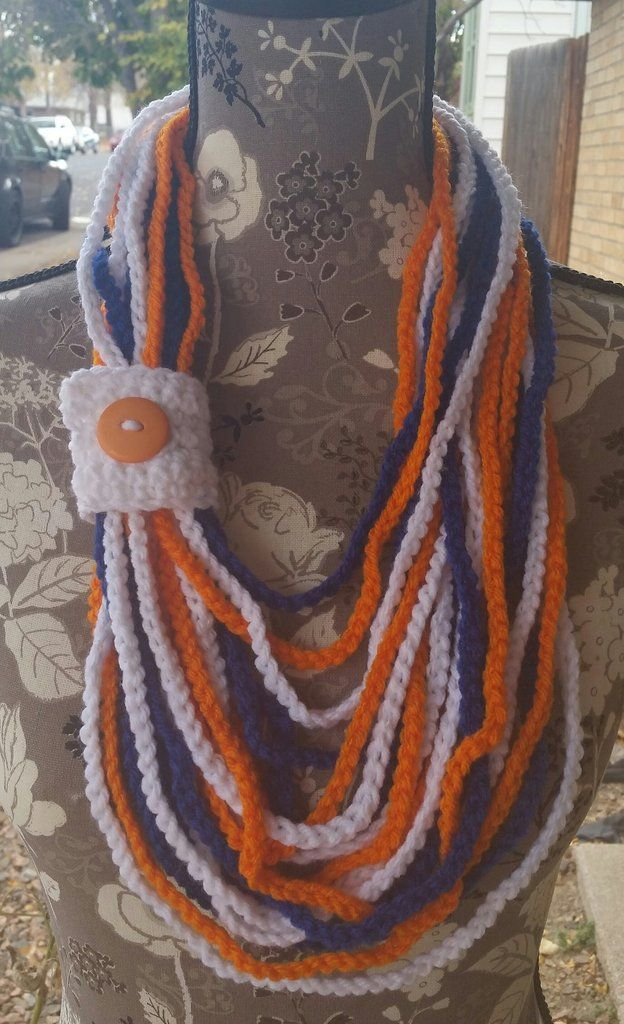 Denver Bronco Inspired Chain Link Scarf With White Tab Closure With