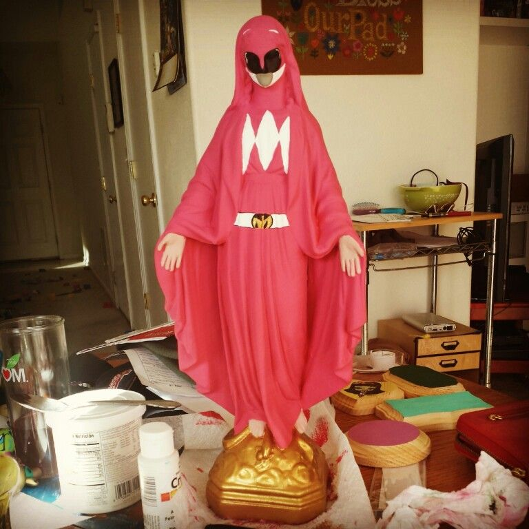 DIY Virgin Mary to Kimberly the pink Power Ranger restyle. All painted by me this morning.