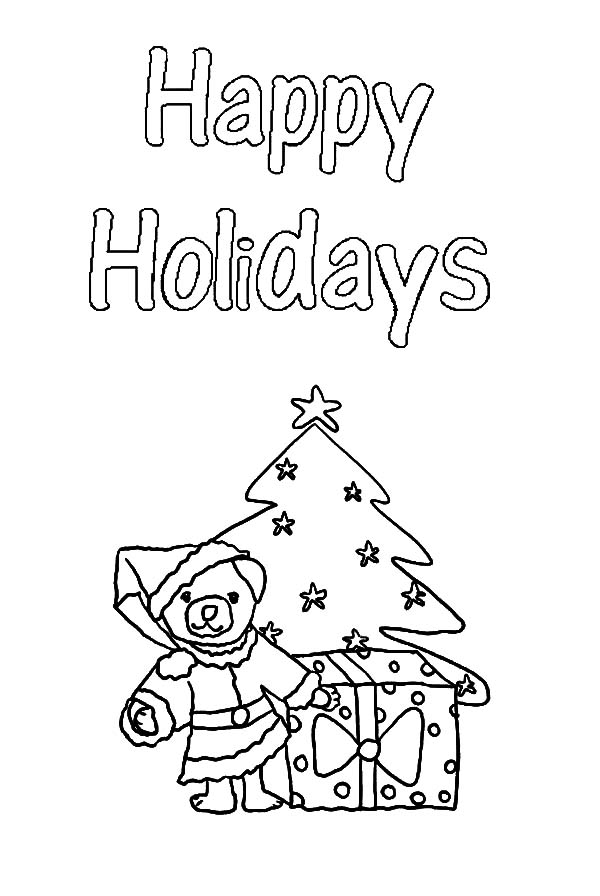 Christmas Holidays Teddy Bear Coloring Pages : Coloring Sky