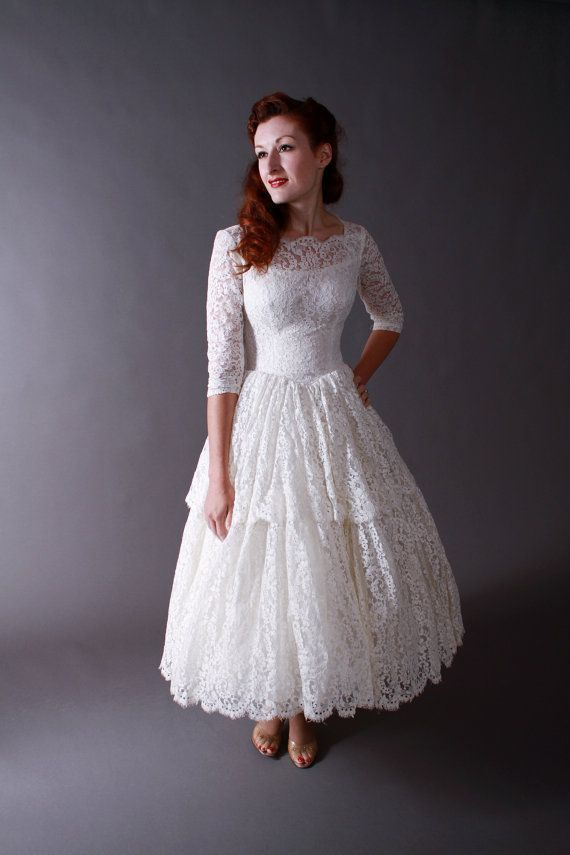 Lace Tea Length Wedding Dress With Long Sleeves I Think Would Go A Floor But Do Love The And Vintage Feel