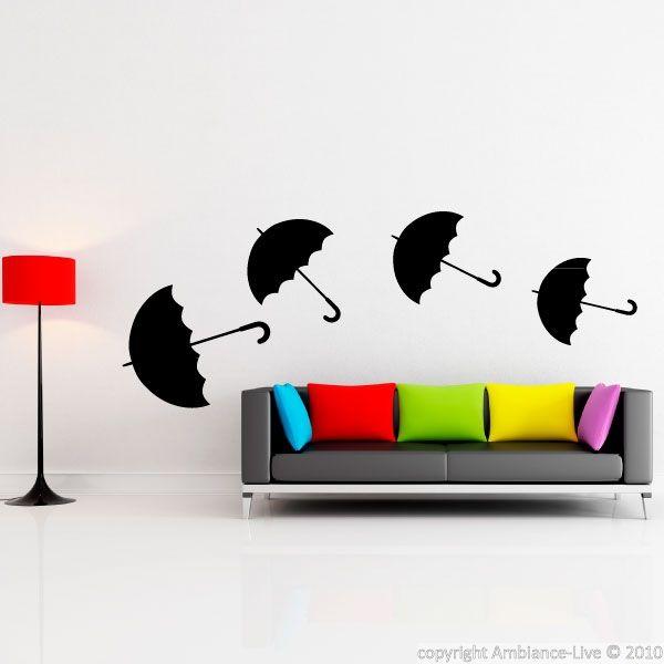 Ambiance Wall Stickers sticker quatre parapluies