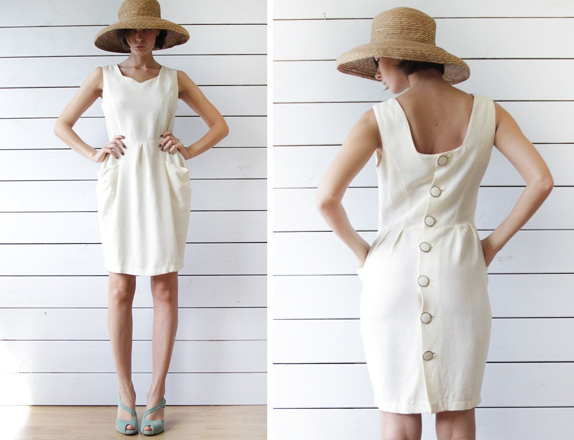 French vintage cream white back button sleeveless fitted formal midi