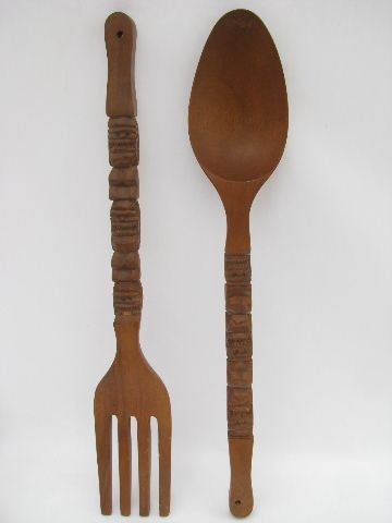 Retro Giant Fork Spoon Tiki Vintage Carved Wood Inherited A Set From The Husbands Grandma Fixing Them Up With Some Paint Can T Wait To Hang