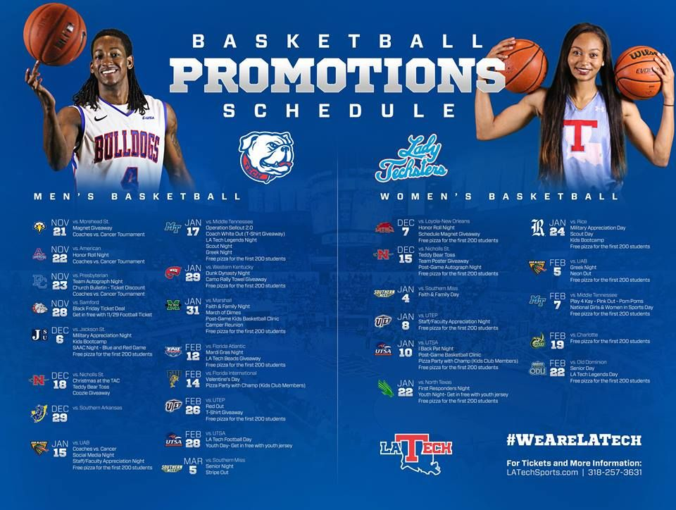 Single Game Promotions Set for LA Tech Hoops. Bulldogs and