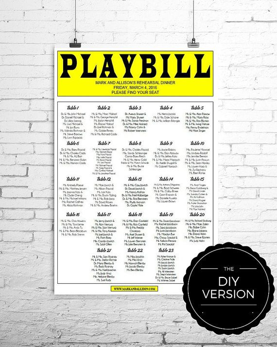 PLAYBILL+Broadway+Seating+Chart+TEMPLATE++DIY++by+GrandWayPress ...