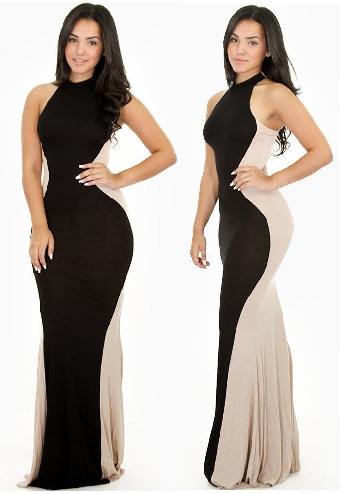 Plus Size Taupe & Black Sleeveless Hourglass Maxi Dress in ...