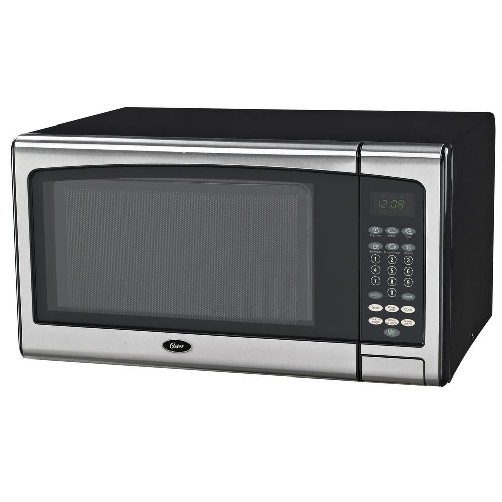 Oster Countertop Microwave Stainless Steel Black 1 1 Cu Ft 1000 Watt With Push Button Ogcmj411s2 10 Stainless Steel Oven Microwave Oven Microwave