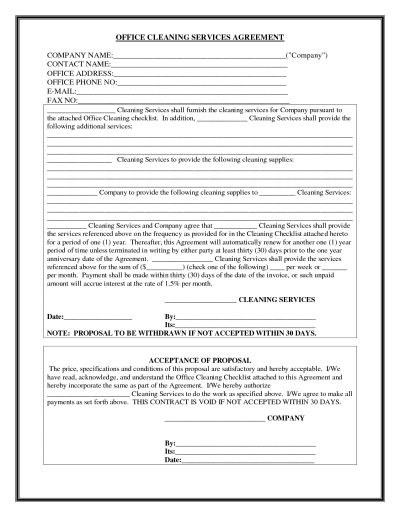 Office Cleaning Services Agreement  Business    Office