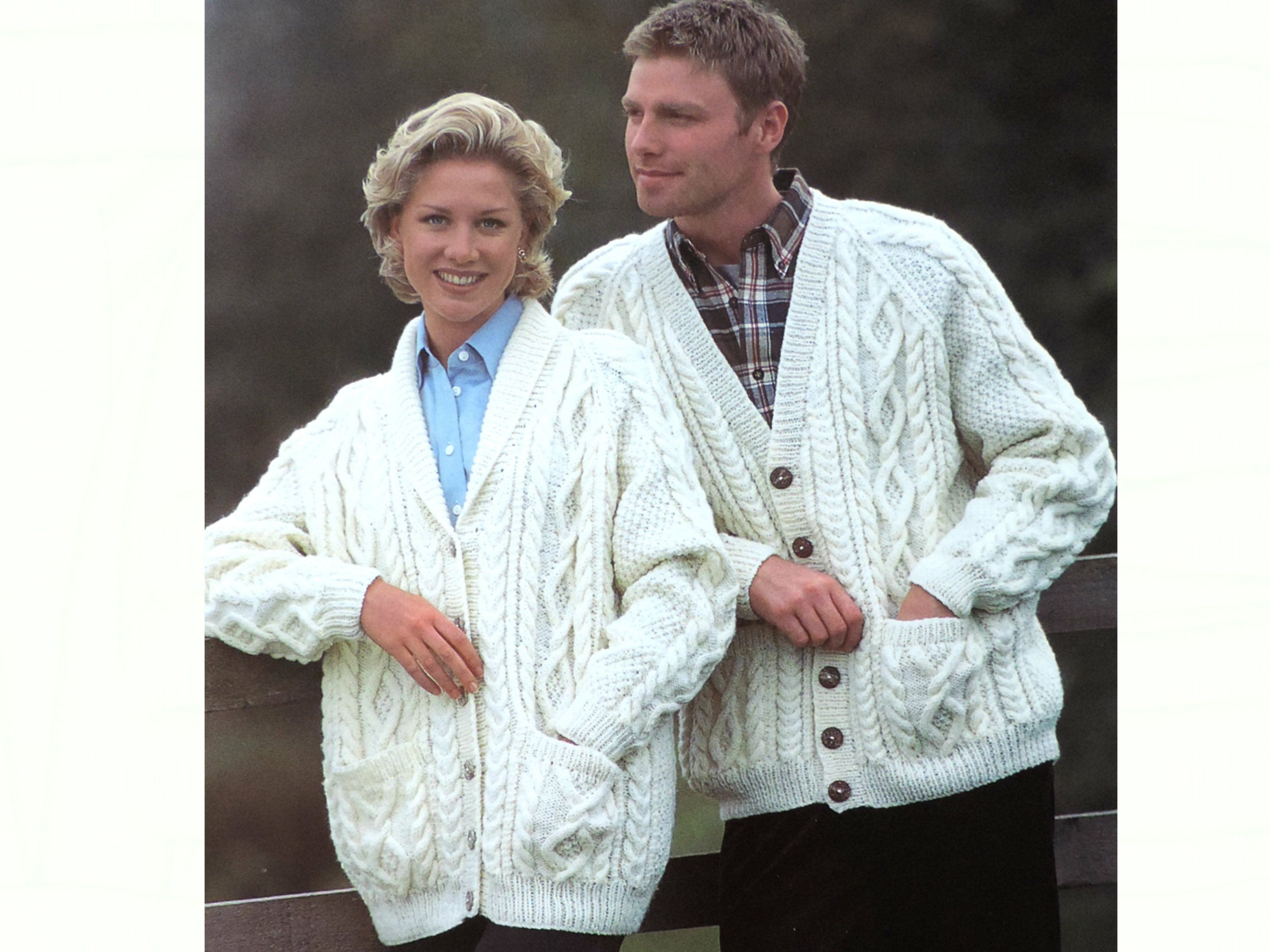 Womens Mens ARAN CABLE Jacket, Knitting Pattern PDF, Ladies and Mans Chunky Cardigan/Jacket with Pockets 32/34/36/38/40/42/44 inch chest
