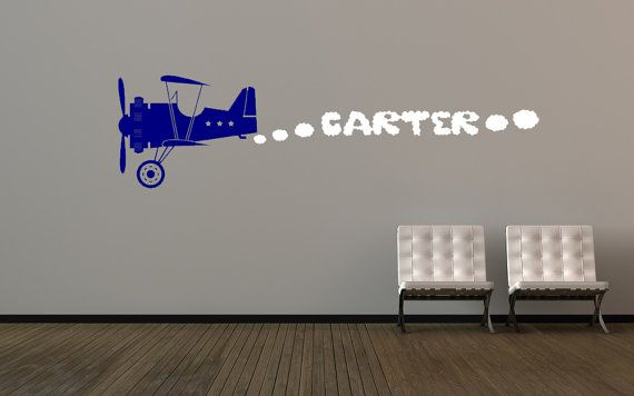 Airplane Decor Airplane Wall Decal Personalized Name Decal Plane Decal Custom Name Sign Smoke Clouds Wall Art Daycare Bedroom Decor & Airplane Decor Airplane Wall Decal Personalized Name Decal Plane ...