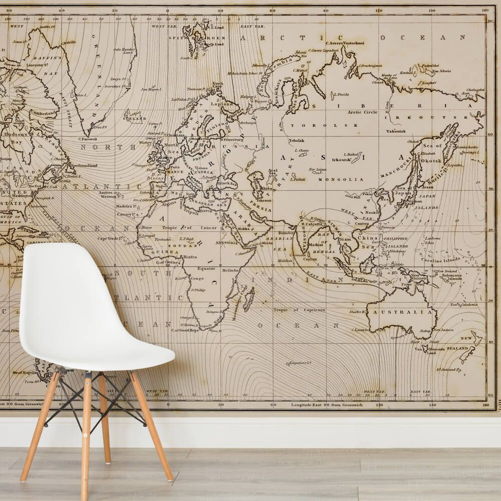 Neutral Shades World Map Wallpaper Mural Wallpaper Murals Wall - Magnetic us wall map